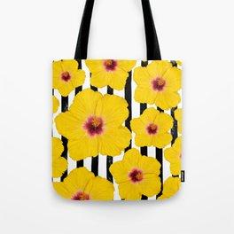 Summer Hibiscus Fun on Black & White Stripes Tote Bag