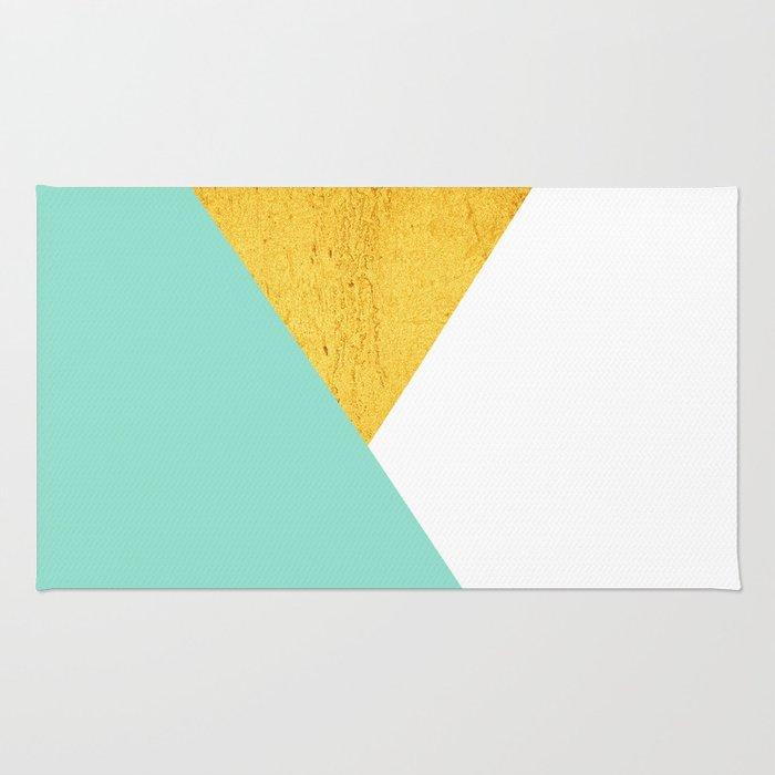 Gold & Aqua Blue Geometry Rug