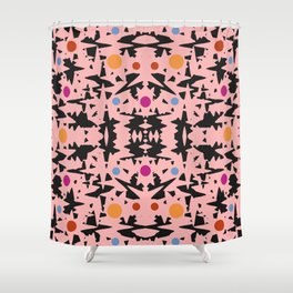 Pink And Black With Colored Circles Shower Curtain