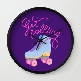 Get Rolling (Purple Background) Wall Clock