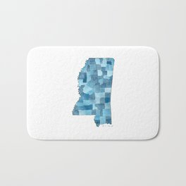 Mississippi Counties Blueprint watercolor map Bath Mat
