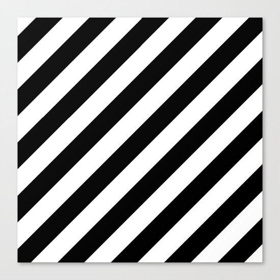 Diagonal Stripes (Black/White) Canvas Print