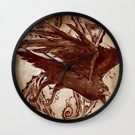 Sepia Paisley Crow Wall Clock