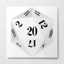 White 20-Sided Dice Metal Print