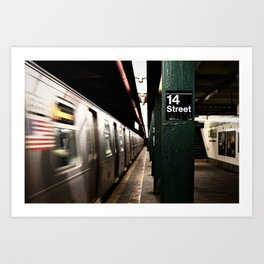 Speeding Subway Train Art Print