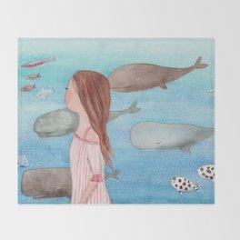 Sleeping whales Throw Blanket