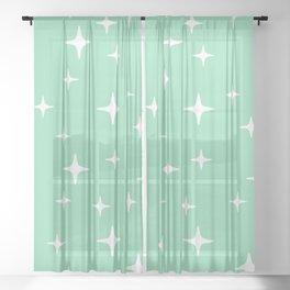 Mid Century Modern Star Pattern 443 Mint Green Sheer Curtain