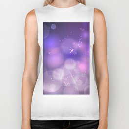 floral background with flowers, leaves, bird and branches of blooming tree. Stylized garden in tints Biker Tank