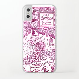 Map of Bohemia (pink) Clear iPhone Case