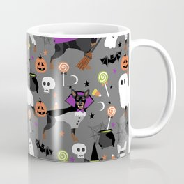 Min Pin halloween miniature doberman pinscher cute dog breed gifts Coffee Mug