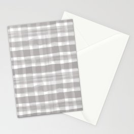 Slate Violet Gray SW9155 Watercolor Brushstroke Plaid Pattern on White Stationery Cards