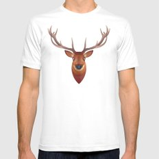 Stag MEDIUM White Mens Fitted Tee