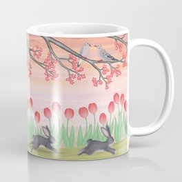 bunnies, tulips, and mourning doves Coffee Mug