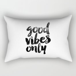 Good Vibes Only black and white typography poster black-white design home decor bedroom wall art Rectangular Pillow