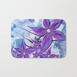 Painted Flowers Fractal Bath Mat