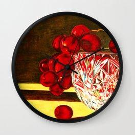 Grapes in a Crystal Bowl Wall Clock