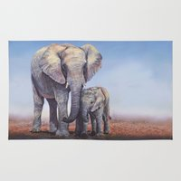 novelty Area & Throw Rugs featuring Elephants Mom Baby by Moody Muse
