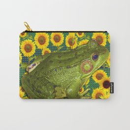 AVOCADO GREEN BOG FROG & YELLOW FLOWERS Carry-All Pouch