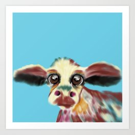 Colorful Cow With Big Eyes On Bluebackground Art Print