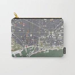 Barcelona city map engraving Carry-All Pouch