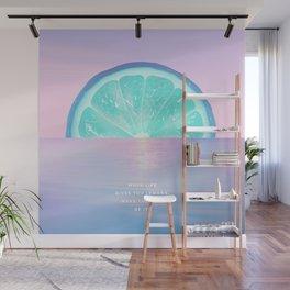 When life gives you lemons - Surreal Lemon Collage Sunset Wall Mural