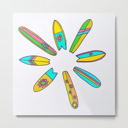 Retro Surfboard Flower Power Metal Print