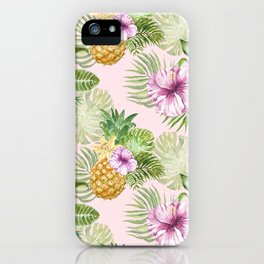 Summer tropical pineapple Floral Beach palm leaves Greenery Foliage Jungle paradise Hawaii Hawaiian print pattern art watercolor illustration background iPhone Case