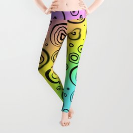 Rainbow Design with Fun Black Circles Leggings
