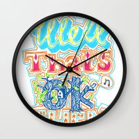 novelty Wall Clocks featuring oh well that's ok then by Jenny Robins