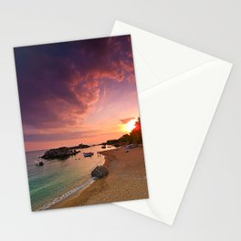 Sunset at the beach of Stoupa in Peloponnese,Greece. Stationery Cards
