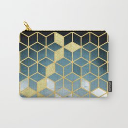 Shades Of Turquoise Green Cubes Pattern Carry-All Pouch
