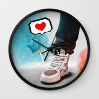 sneaker Wall Clocks featuring sneaker Love by Dominik Gottherr