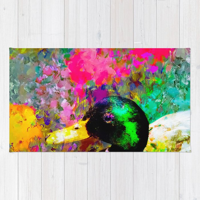 mallard duck with pink green brown purple yellow painting abstract background Rug