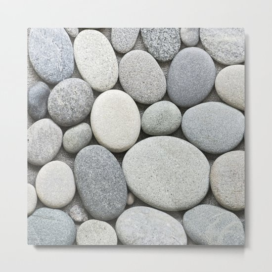 grey beige smooth pebble round stone collection Metal Print