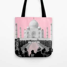 Taj Mahal with pink Tote Bag