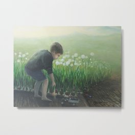 Young Boy at Play in the Garden Metal Print
