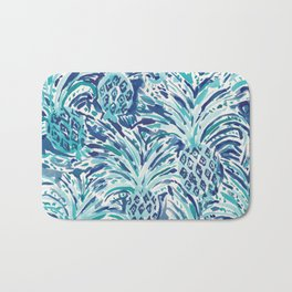 PINEAPPLE WAVE Blue Painterly Watercolor Bath Mat