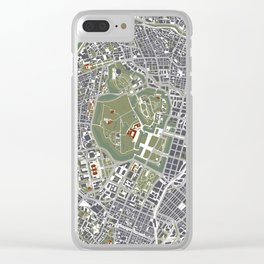 Tokyo city map engraving Clear iPhone Case