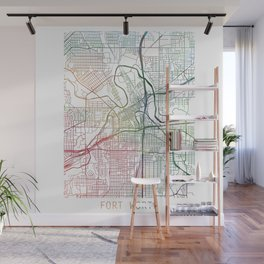 Fort Worth Watercolor Map by Zouzounio Art Wall Mural