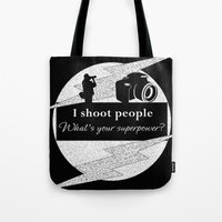 aperture Tote Bags featuring I Shoot People by LLL Creations