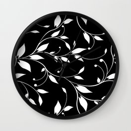 FLOWERY VINES | black white Wall Clock