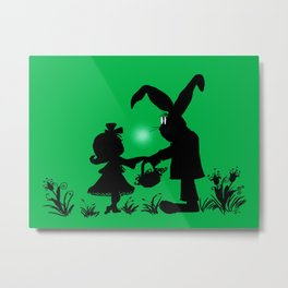 Silhouette Easter Bunny Gift Metal Print