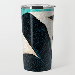 The Panda and The Butterfly - turquoise version Travel Mug