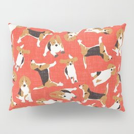 beagle scatter coral red Pillow Sham