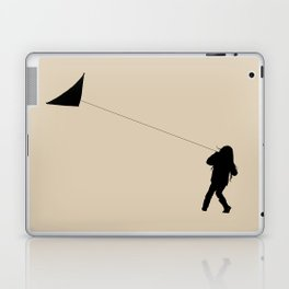 Little Girl with a Kite in Winter Grass Laptop & iPad Skin