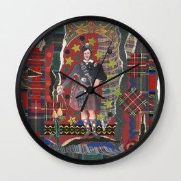Bonnie Lad & Plaid by Nettwork2Design Nettie Heron-Middleton Wall Clock