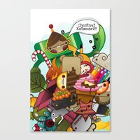 katamari Canvas Prints featuring Chestnut Katamari by Ed Warner