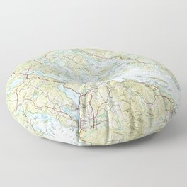 Lake Winnipesaukee Map (1986) Floor Pillow