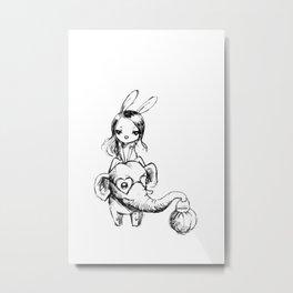 Stylish elephant and bunny girl Metal Print