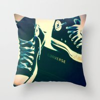 sneakers Throw Pillows featuring Converse Sneakers by Tyland Creations